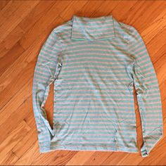 J.Crew Green and Grey Stripe Turtleneck - S J.Crew cotton striped green and grey turtleneck. Lightweight and will take you through transitioning seasons. Rarely worn and no signs of wear. Open to reasonable offers! J. Crew Tops