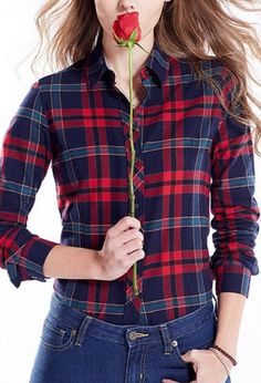 Navy And Red Plaid Print Long Sleeve Shirt