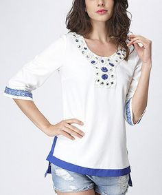 This White & Blue Embellished Top - Women is perfect! #zulilyfinds