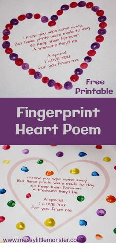 An easy fingerprint heart craft for kids. A great Valentines Day craft or Mothers Day craft for kids. An easy fingerprint heart craft for Grandparents Day Crafts, Valentine's Day Crafts For Kids, Valentine Crafts For Kids, Fathers Day Crafts, Mothers Day Crafts Preschool, Easy Mothers Day Crafts For Toddlers, Daycare Crafts, Grandparent Gifts, Mom Gifts