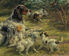 Edmund Henry Osthaus (American, 1858-1928) - The Curious Pups, oil on canvas, 60,9 x 76,2 cm.
