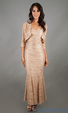 Long Lace Sleevelss Dress with Jacket at SimplyDresses.com