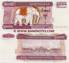 Myanmar 5000 Kyats (2009) Front: Dressed up Royal White Albino Elephant (pachyderm) - symbol of power and good fortune. Back: Buildings of the Central Bank of Myanmar. Main colour: Purple. Watermark: Royal White Elephant; Burmese electrotype '5000'. Printer: Security Printing Works. Date of issue: 1 October 2009. Material: Paper. Issuer: Central Bank of Myanmar.