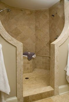 Tile Walk-in shower with shower bench and overhead shower. No ...