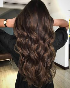 Long Dark Brown Shag with Textured Bangs - 20 Stunning Long Dark Brown Hair Cuts and Styles - The Trending Hairstyle Brown Hair Cuts, Brown Hair Shades, Brown Hair With Blonde Highlights, Brown Hair Balayage, Light Brown Hair, Brown Hair Colors, Hair Highlights, Dark Hair, Dyed Hair Brown