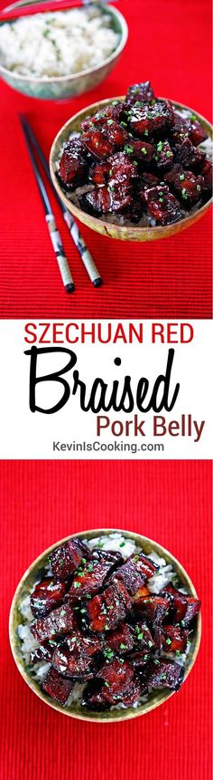 Szechuan Red Braised Pork Belly - (Hong Shao Rou) - Kevin Is Cooking Pork Belly Recipes, Bacon Recipes, Tapas, Braised Pork Belly, Pork Dishes, Asian Cooking, Asian Recipes, Szechuan Recipes, Hawaiian Recipes