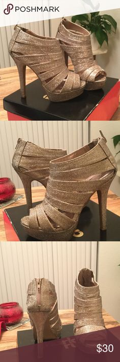 Rose Gold Heels 5 in, rose gold, strappy heel! Charlotte Russe Shoes Heels