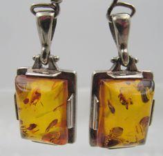 Vintage Sterling Silver Natural Amber Pierced Earrings