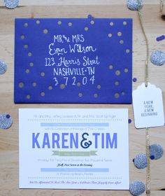 Ahhh! So cute!!! New Year's Eve wedding invitations by Holly Would Press!