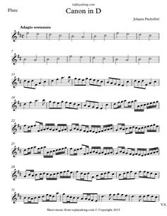 Canon in D by Pachelbel. Free sheet music for flute. Visit toplayalong.com and get access to hundreds of scores for flute with backing tracks to playalong.