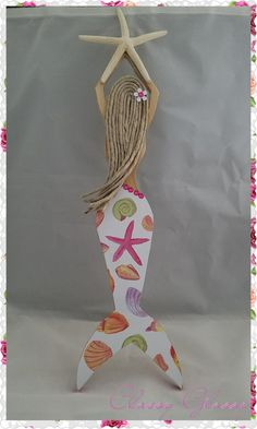 This beautiful handmade Mermaid will make a wonderful addition to your beach or mermaid decor! All Mermaids are made out of wood with embellishments and a Mermaid Wall Art, Mermaid Drawings, Mermaid Crafts, Michael Art, Arts And Crafts House, Cool Art Projects, Art Lesson Plans, Stone Art, Diy Crafts For Kids