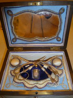19th Century French Palais Royale Sewing Box with tools