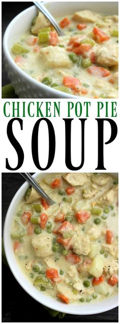 CHICKEN POT PIE SOUP - a deliciously simple soup recipe made from scratch. A fantastic classic comfort food brought to you in bowl. #soups #souprecipes #chickenpotpie #chickenpotpiesoup #ChickenRecipes #chickendinner