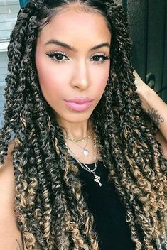 25 Gorgeous Passion Twists Hairstyles - crazyforus We have found 25 of the most stunning passion twists hairstyles for you to see. Passion twists are a gorgeous, protective hairstyle. Twist Braid Hairstyles, Long Face Hairstyles, Braided Hairstyles For Black Women, Braids For Black Hair, My Hairstyle, Twist Braids, Long Haircuts, Black Hairstyles, Classy Hairstyles