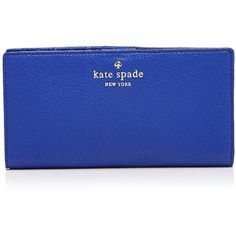 kate spade new york Wallet - Cobble Hill Stacy ($128) ❤ liked on Polyvore featuring bags, wallets, purses, bright lapis blue, blue wallet, blue bag, kate spade, kate spade bags and kate spade wallet