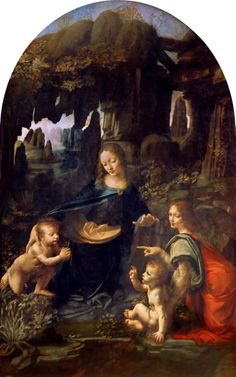 Leonardo da Vinci. The Virgin of the Rocks. Oil on canvas (wood transferred to canvas in 1806) (c. from 1483 until 1486). Louvre Museum