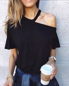 Sexy One Shoulder T Shirts Women Fashion Butterfly Sleeve Black Shirt Tops Summer Casual Gebleichte Shirts, Diy Cut Shirts, T Shirt Diy, Casual T Shirts, Band Shirts, Diy T Shirt Cutting, Cutting Shirts, Casual Tops, Men Casual