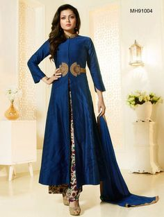 Buy Salwar Suits, Anarkali, Anarkali Suits, Madhubala : Elegantly styled blue and cream chanderi silk unstitched suit features zari and printed work. Paired with a palazzo bottom and dupatta. It can be customized upto size 42 *Call / Whatsapp / Viber : +91-9052526627 *Email : customercare@natashacouture.com *Worldwide Shipping | Free shipping in India | Cash on delivery *