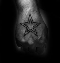 Double Simple Star Outline Mens Hand Tattoos