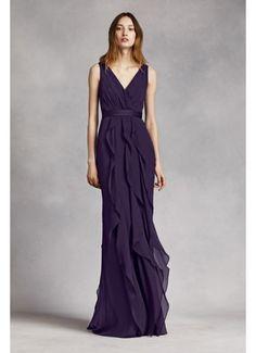 V-Neck Wrapped Bodice Dress with Satin Belt VW360189