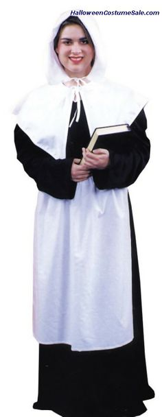 Costume includes: Long black pilgrim dress in heavy knit polyester with black zipper. White apron, cuffs, and collar. Complete with white cap. Available sizes: Small Extra Large Rental QualityGreat for Thanksgiving Product Unique Couple Halloween Costumes, Halloween Costume Puns, Cool Costumes, Adult Costumes, Halloween Ideas, Pilgrim Costume, Turkey Costume, Rock Costume, Costume Shop