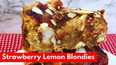 Amazingly delicious blondies with strawberry & lemon. Watch how fun to make.