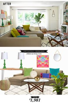 A complete living room with colorful accessories for less than $2000 by @lindseyboyer