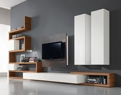 47 Amazing Wall Storage Items For Your Contemporary Living Room. Floating wall storage is a mix of practical storage and home décor fashion where the storage unit is fixed to […] Living Room Wall Units, Living Room Tv Unit Designs, Interior Design Living Room, Room Wall Decor, Living Room Decor, Modern Tv Wall Units, Modern Wall, Home Decor, Wall Storage