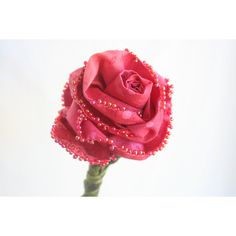 Everlasting Coral Pink Fiber Art Sculpture Single Stem Rose,... ($25) ❤ liked on Polyvore featuring home, home decor, coral color home decor, valentines day home decor and rose home decor