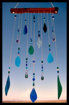 Blues & Green Stained Glass Windchime/Mobile by mexicobeachgirl