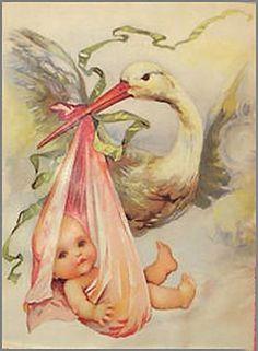 Darling Vintage Stork with Baby Shabby Waterslide Decals | eBay