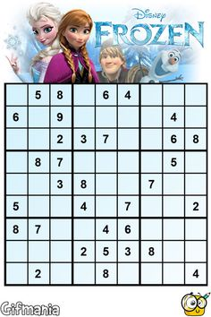 Si te gustan los sudokus, te encantará éste de Frozen! #sudoku #Frozen #Disney #pasatiempos