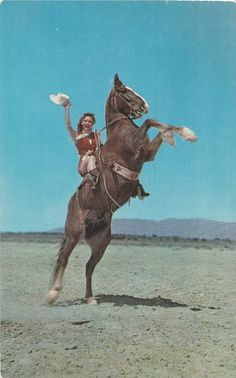 - 1950s Vintage Cowgirl & Horse Photo Postcard