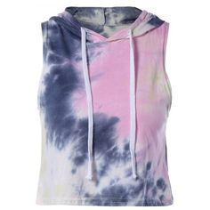 Trendy Hooded Sleeveless Tie-Dye Women's Crop Top ($12) ❤ liked on Polyvore featuring tops, hooded top, sleeveless tops, hooded crop top, tie dye crop top and tie dyed tops