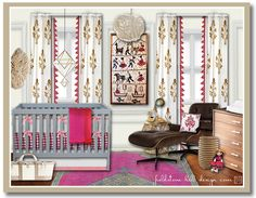 project nursery :: my girl's nursery design board reveal {design by fieldstonehilldesign.com }