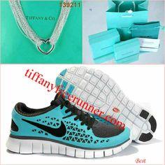 Nike Free Run Tiffany Blue Black Love Tiffany & CO Necklace