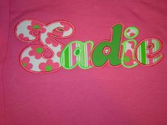 Sadie applique name shirt Sadie, Applique, Monogram, Butterfly, Names, Sewing, Cover, Books, Inspiration
