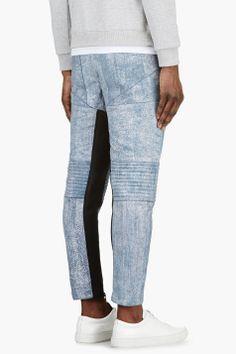 3.1 PHILLIP LIM Black Cracked Paint Lambskin Trousers