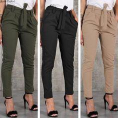 Casual Slim Chiffon Thin Pants For Women High Waist Black Khaki Green Pants Ladies Drawstring Pencil Pants Summer Work Outfits, Fall Outfits, Casual Outfits, Cute Outfits, Fashion Pants, Look Fashion, Fashion Outfits, Ladies Fashion, Fashion Design