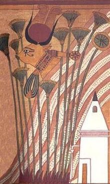 Hathor as a cow, wearing her necklace and showing her sacred eye – Papyrus of Ani.