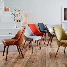 Mid-Century Upholstered Dining Chair - Velvet #westelm