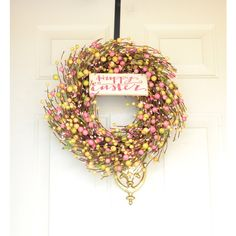 Easter Egg Wreath Bright Pink Yellow Green Easter Front Door Happy... ($85) via Polyvore featuring home, home decor, green signs, easter wreath, yellow home decor, easter signs and easter home decor
