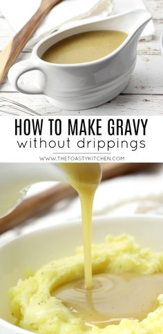 Learn how to make gravy without drippings today. This easy homemade gravy recipe makes a perfect batch of gravy every time, and can be made ahead of time. Mashed Potato Gravy Recipe, Best Gravy Recipe, Pork Gravy Recipe Without Drippings, Better Than Bouillon Gravy Recipe, Easy Gravy Recipe Without Drippings, Simple Gravy Recipe, Cajun Gravy Recipe, Homemade Chicken Gravy, Homemade Gravy Recipe