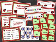 The Lovely Ladybug Classroom Theme bundle.  This set has everything you need to have nicely coordinated classroom decor.  Posters, printables, name plates, numbers, alphabet and so much more!  Over 100 pages / 300 items!