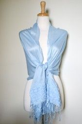 Beautiful spring and summer pashmina wrap with feminine rose and lace detail.  This lightweight and soft blue pashmina shawl has embroidered roses and lace on each end. $19.99 Use code PINIT at checkout for 10% off your entire order.