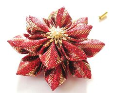 Kanzashi  fabric flower brooch . Red and gold kanzashi flower lapel pin. Boutonniere lapel pin. Red and gold flower boutonniere. by JuLVa on Etsy