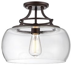 """Arts and Crafts - Mission Charleston 13 1/2"""" Wide Clear Glass Ceiling Light - modern - ceiling lighting - by Lamps Plus"""