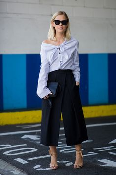 Off the shoulder and with a spaghetti sauce sleeve...wear this shirt when you want to prove that, yes, you know about all the relevant trends thankyouverymuch. #refinery29 http://www.refinery29.com/fancy-shirts-fashion-girls#slide-3