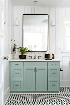 Cabinet color is Farrow and Ball Green Blue. Cortney Bishop Design