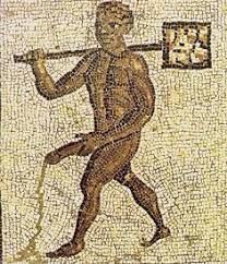 Roman erotic mosaic from Timgad (current Algeria), showing black slave. Object dated back to circa I CE.Mosaic found at the entrance to the baths. He is currently in the Museum in Timgad Ancient Greek Art, Ancient Rome, Roman History, Art History, Pompeii And Herculaneum, Famous Artwork, Roman Art, Medieval Art, Gay Art